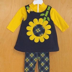 Bonnie Baby sunflower dress set size 12M